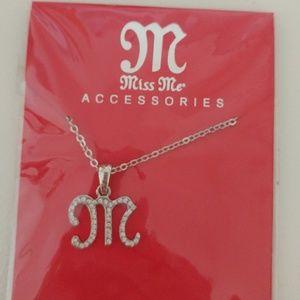 "{Miss Me} silver rhinestone ""m"" emblem necklace"